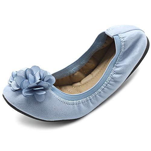 Ollio Women's Shoes Faux Suede Decorative Flower Slip On Comfort Light Ballet Flat ZY00F55 (10 B(M) US, Greyish Blue)