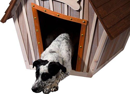 dobar 55012 Hundehütte ,XL Outdoor Hundehaus für große Hunde , Platz für ein Hundebett , Hundehöhle mit Spitzdach , 90x77x109 cm , 14kg Holzhütte , entfernbarer Boden | Farbe: braun/grau - 6
