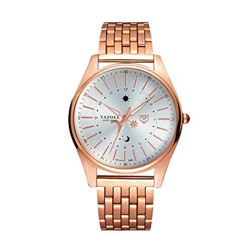 ROVNKD  Reloj de cuarzo para hombre, moderno, clásico, con escala de 24 horas, con manecillas de sol y luna. Blanco Tallaúnica