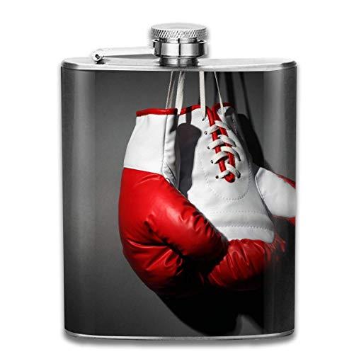 Gxdchfj Edelstahl Flaschen 7 Oz Boxhandschuhe Rot Weiß Boxing Black Whisky Glaskolben Flachmann Dichtigkeit Wein Männer Frauen