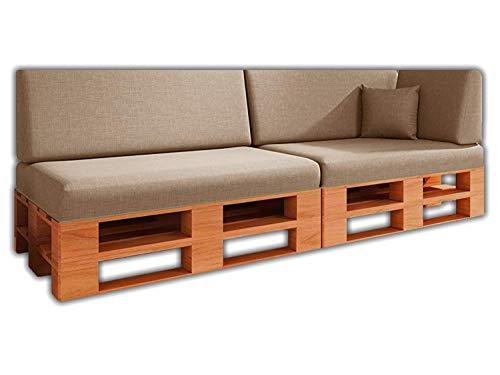Saving Pack Set di 6 cuscini per divano pallet / euro pallet 2 posti + 2 schienali + angolo + cuscino | Rimovibile | Interni ed esterni | Colore criceto | Schiuma ad alta densità.