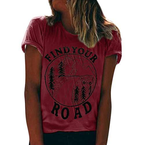 Dorical T-Shirt Große Größen Oberteile Damen Rundhals Kurzarm Tops Sommer Blusen Shirt Top Find Your Road Drucken Tunika Tees Shirt große größen Bluse