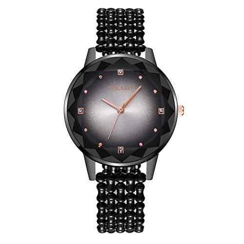 Powzz ornament Armbanduhren Modische Waage Edelstahl Magnetschnalle Damenuhr Sternenhimmel Quarz Uhr-Schwarz