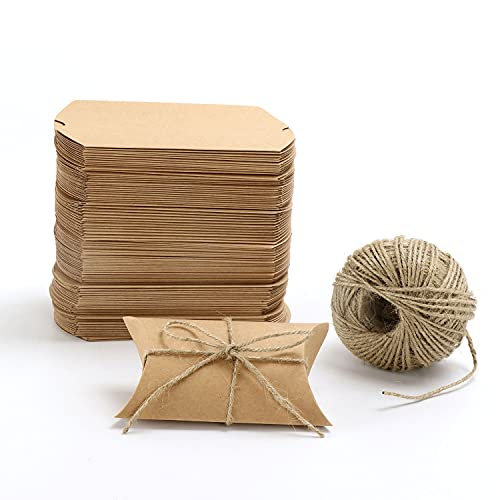 Kraft Brown Pillow Paper Box 13x9x3.5cm 100pcs with Hemp Ropes (Medium)