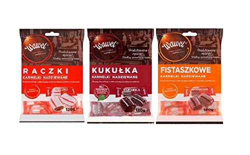 WAWEL Raczki, Kukulki, Fistaszkowe 3 pack x 120 g. Traditional Polish Hard Candies. Product from Poland. Packing by Granda.
