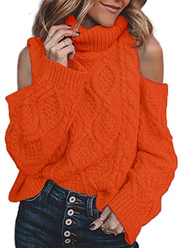 Aslive - Jersey de punto de cuello alto para mujer, e naranja, XXL