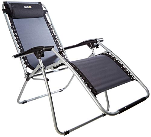 Regatta Unisex's Colico Lounging Recliner Camping Chair, Black/Seal Grey, One Size