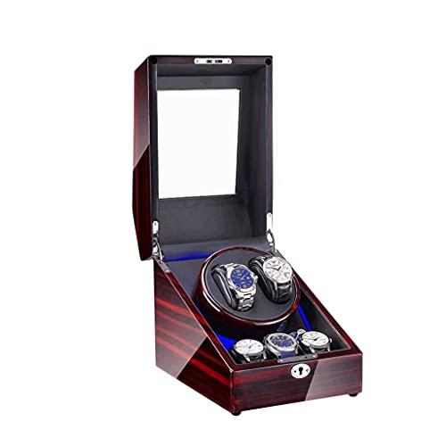 3+2 relojes Winders caja de madera de lujo almacenamiento caso reloj rotor para 3 tamaños relojes con luz LED giratoria reloj caso