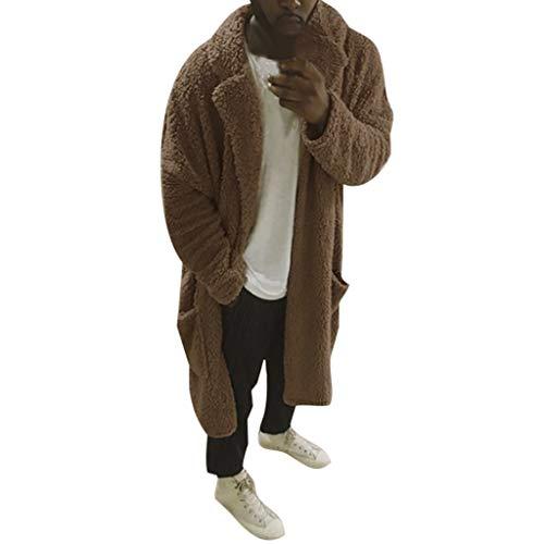 Heren Fuzzy Winter Faux Bont Lange Jas Zakken Dikke Warm Open Vest Fleece Jas Plus Size Meisjes Vintage Fluffy Zachte Sweatshirt Pullover Jumpers Parka Bovenkleding