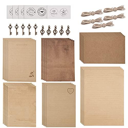 KONUNUS 5 Sätze Vintage Briefpapier Briefumschläge Mit Umschlag Set, 20 Blatt Alter Briefpapier, 10 Umschläge, 10 Hanfseilen, 10 Siegelaufkleber