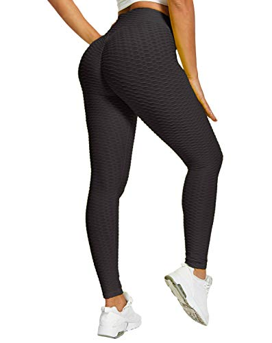 PIZOFF Butt Lifting Leggings Anti Cellulite Textured Leggings for Women High Waist Tummy Control Scrunch Butt Leggings Yoga Pants Sport Tights AM237-Black-L