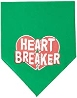 Mirage Pet Products 66-29 SMEG Heart Breaker Screen Print Bandana Emerald Green Small