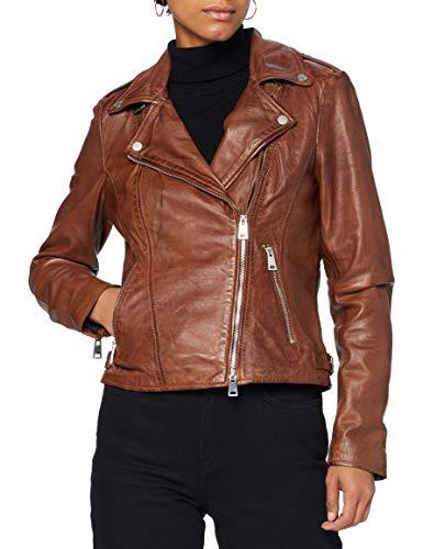 Freaky Nation Damen New Undress Me-FN Lederjacke, Cognac, S