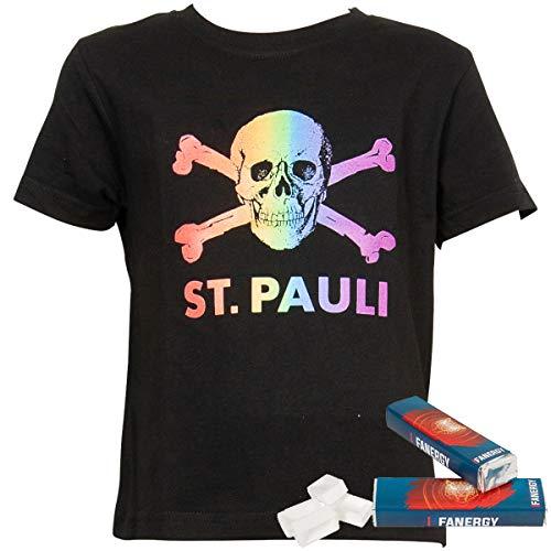 FC St. Pauli Kinder T-Shirt Shirt Oberteil Aufdruck Totenkopf Regenbogen Kollektion schwarz + 2X FANERGY Traubenzucker (104)
