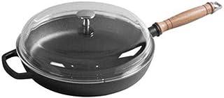 LONGWDS Sartén de hierro fundido, sartén antiadherente de 28 cm, sartén gruesa sin recubrir, olla de bistec para panqueque...