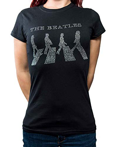 The Beatles T Shirt Abbey Road Crossing Diamante Ufficiale da Donna Skinny Fit Size 14