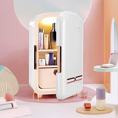 KOSIEJINN Mini frigorifero per Cosmetici 12l Mini Frigo da Camera Portatile Compatto Per Dormitori Per Camere Da Letto Frigorifero Di Bellezza Con Cassetti Rimovibili Per Cosmetici (White)