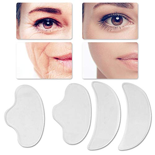 Qkiss 4Pcs Anti-Rides pour le Visage, Patchs Anti-Rides en Silicone Réutilisable Face Lifting Sticker Rides Face Lifting Sticker Compresser des Patchs pour le Front du Visage