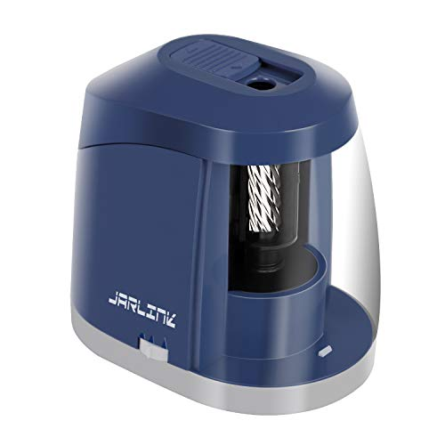 JARLINK Electric Pencil Sharpener, Heavy-Duty Battery Operated Pencil Sharpener for School Classroom Office, Auto Stop for No.2/Colored Pencils(6-8mm), Blue