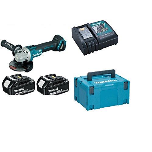 Makita DGA506RTJ Meuleuse D'angle 125 mm avec 2 Batteries en Coffret Makpac 18 V 5 Ah