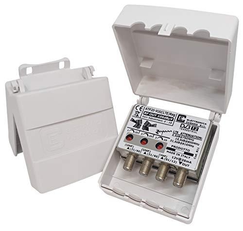 Elettronica Cusano ATP20-VUU(LTE) Reg - Amplificatore Antenna Tv da Palo con Filtro LTE/4G, Guadagno Massimo 20dB, 3 Ingressi: 1xVHF e 2xUHF, Ideale per Zone con Segnale di Media Intensità, grigio