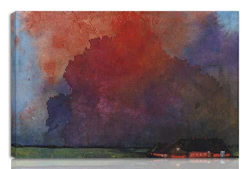 Berkin Arts Emil Nolde Gedehnt Giclee Auf Leinwand drucken-Berühmte Gemälde Kunst Poster-Reproduktion Wand Dekoration Fertig zum Aufhängen(Bauernhof unter Gewitterwolken)#NK