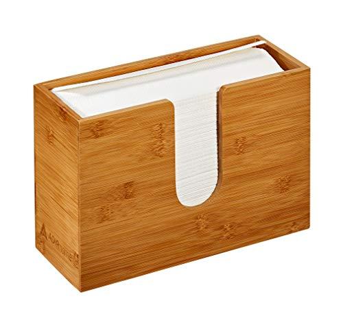 AdirHome Bambus-Papierhandtuchspender, 12,2 x 29,5 x 19,8 cm, Wandmontage oder Arbeitsplatte für mehrere Handtücher, Badezimmer, Küche, Zuhause oder gewerbliche Nutzung (Bambus)