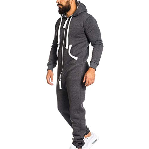 Men's Hooded Onesie Jumpsuit Sports Romper Overall Zip up Playsuit Drawstring Sportswear Adult Overall Hoodie Dark Gray