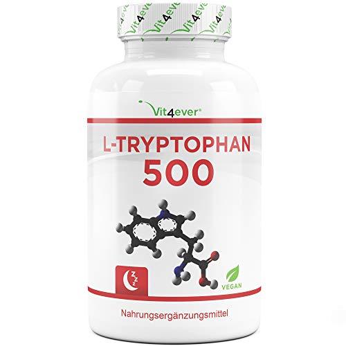 L-Tryptophan 500 mg - 300 vegane Kapseln - Reine Aminosäure aus pflanzlicher Fermentation - Laborgeprüft (Wirkstoffgehalt & Reinheit) - Ohne Hochdosiert - Vegan - Premium Qualität