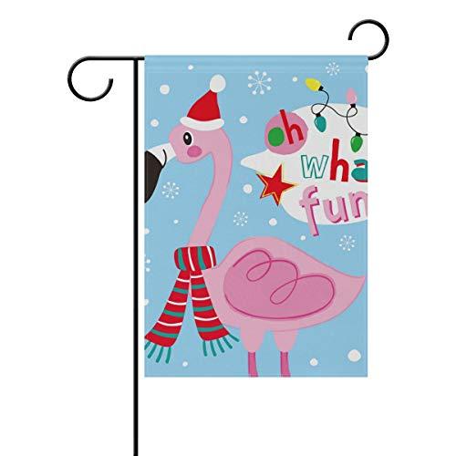SENNSEE Noël Oiseau Rose Flamants Roses Maison Jardin Drapeau 30,5 x 45,7 cm Double Face Drapeau de la Cour pour décoration de fête Intérieur Extérieur, Polyester, Multicolore, 12x18(in)