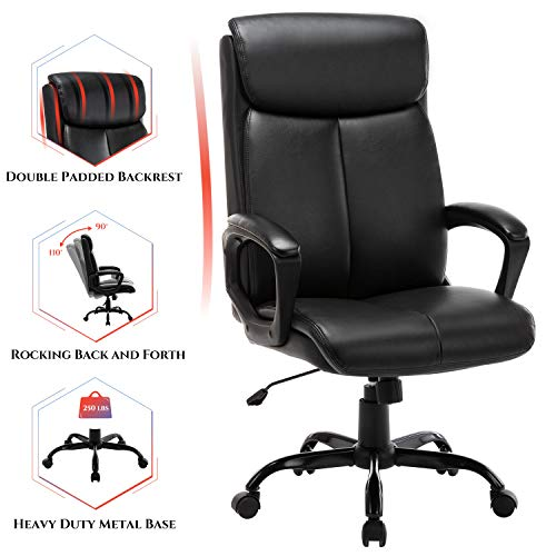 High Back Office Chair - Executive Bonded Leather Computer Desk Swivel Task Chair W/Rocking Function, Black