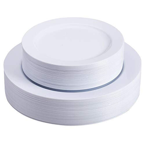 Select Settings 60 pc Disposable Plastic Plates 30 Dinner Plates amp 30 salad Plates Disposable Plate Combo Sets White Round Plates