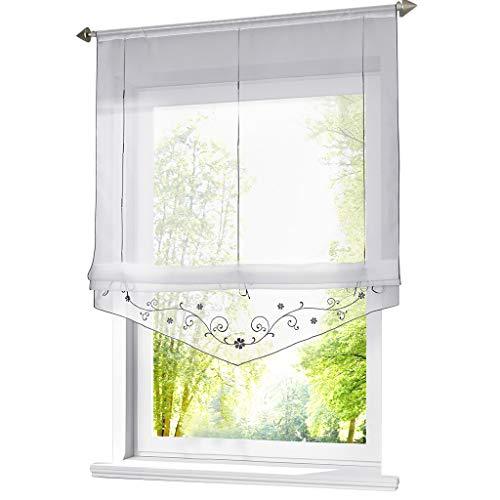 ESLIR Raffrollo mit Schlaufen Raffgardinen Gardinen Küche Transparent Schlaufenrollo Vorhänge Bestickt Modern Voile Grau BxH 80x140cm 1 Stück