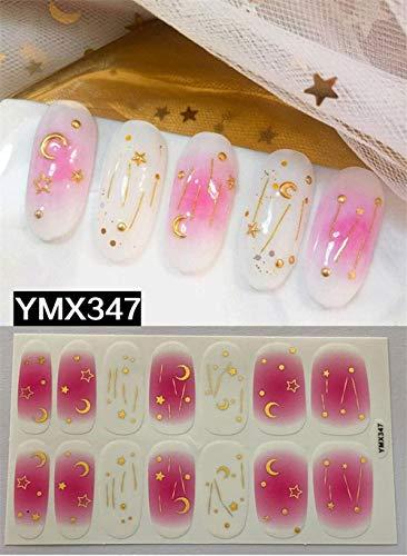 HDDWZH Nagelaufkleber,3D Nail Sticker Mond Sterne Strass Farbverlauf Pink Fashion Logo Nail Art Sticker Selbstklebende Aufkleber Nagel Zubehör