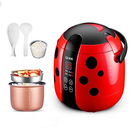GAYBJ Cocina de arroz eléctrica con el crisol de Acero Inoxidable extraíble Antiadherente 1.2L 200W fácil de Usar función de Calentar Taza de medición Libres y primicia