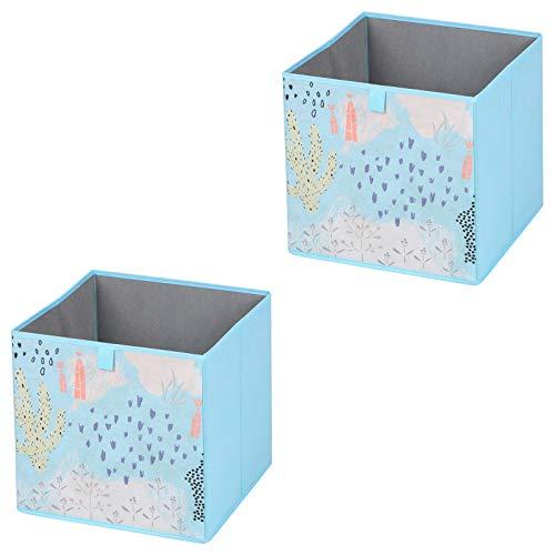 IDIMEX Faltbox Flower Morning-2, Aufbewahrungsbox Ordnungsbox Stoffbox Regalbox, im 2er Pack, mit Blumen Motiv in hellblau