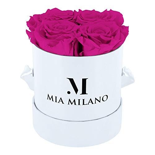 Mia Milano ® Boîte de Roses avec 4 Roses Infinity | Boîte à Fleurs (boîte Cadeau pour la Saint-Valentin) Fleurs conservées 3 Ans de durabilité (Blanc - Hot Pink)