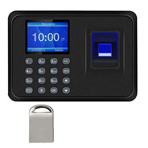 Máquina de Asistencia,Máquina Fichar de Asistencia Biométrica de Huella Dactilar con Sistema Española Pantalla LCD,Capacidad de 100.000 Registros,2.4 Pulgadas,con 8G Disco U