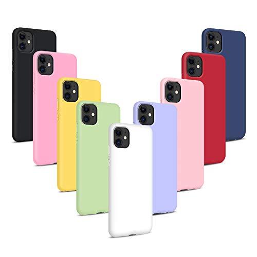 9X Cover per iPhone 11 / XIR 2019 (6.1), Morbido Silicone Case Tinta Unita Ultra Sottile Custodia TPU Flessibile Gomma Protezione Posteriore Antiscivolo Protettiva Skin Caso - 9 Colori