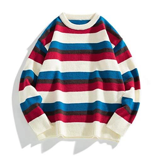 Pullover Men Autumn Winter Men's Turtleneck Sweaters Striped Streetwear Tops Man Hip Hop Loose Sweaters Men Casual Pullover