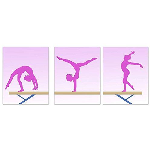 Summit Designs Girls Gymnastics Beam Pink Wall Art Prints - Set of 3 (8x10) Poster Photos - Bedroom - Studio - Gymnast Montana
