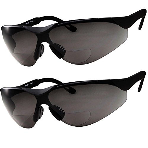 2 Pairs Bifocal Safety Sunglasses Black Lens with Reading Corner - Fully Adjustable Arms Diopter/+2.50