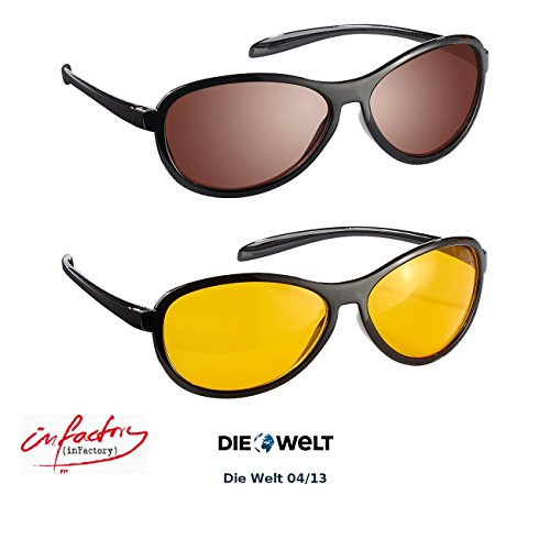 infactory Day Sight Brille: HD Kontrast-Brillen-Set Night Vision & Day Vision, polarisiert (Daysight)