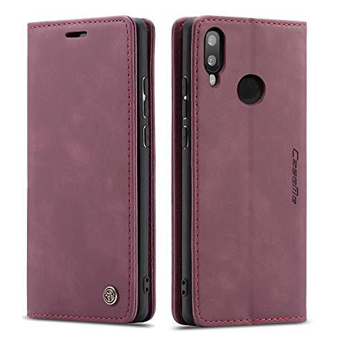 CE Mall Hülle für Huawei P Smart 2019, Leder Flip Handyhülle Schutzhülle Tasche Hülle mit [Magnetverschluss] [Standfunktion] [Kartenfach] für Huawei P Smart 2019 Handyhülle-Rot