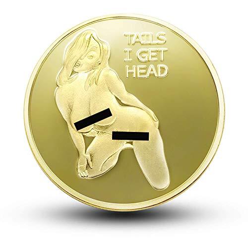 Commemorative Coin Sexy Woman Luck Coin Collection Arts Gifts Bitcoin Alloy Souvenir (Gold)