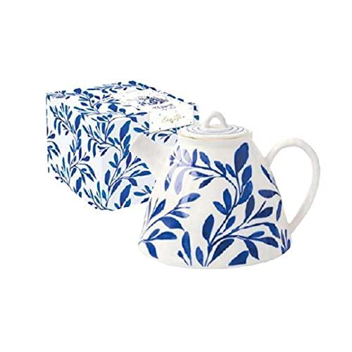 EASY LIFE Tetera de porcelana en color box Elegance blanco con hojas azules 1 L