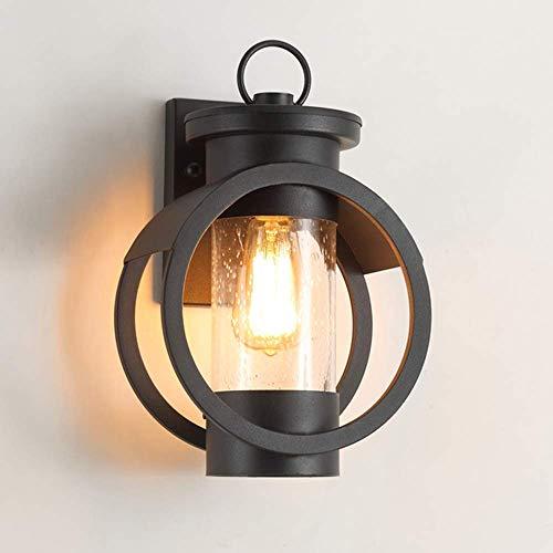 Lámpara de pared de hierro IP23 Lámpara de pared E27 Lámpara de pared de vidrio Iluminación de pared negra para área de recreación Pasillo de pared exterior Patio Casa club Villa Pasillo Iglesia Cent