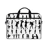 FOURFOOL 15-15.6 Inch Bolsa de Ordenador,Gran Vector Set Silueta Músico Negro,Nuevo Patrón de impresión portátil Hombro Bolsa maletín portátil de Ordenador portátil Caso