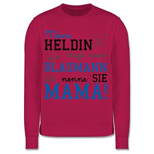 Shirtracer Sprüche Kind - Meine Heldin trägt einen Blaumann Mama - 104 (3/4 Jahre) - Fuchsia - blaumann Kind - JH030K - Kinder Pullover