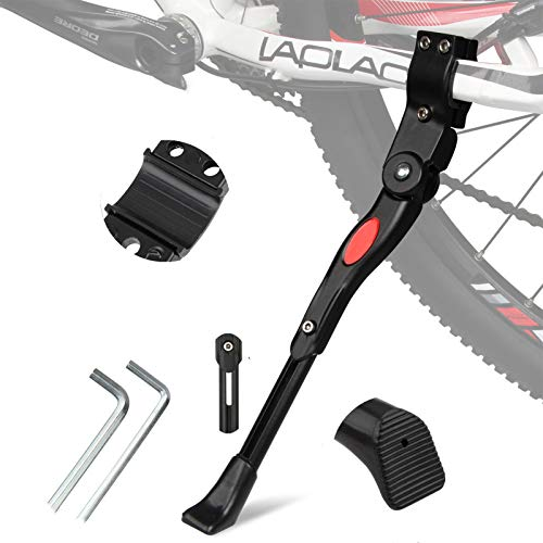 """Bike Kickstand Adjustable Aluminum Alloy Bicycle Side Stand Bicycle Kickstand with Hexagon Wrench Fit for 22"""" 24″ 26″ 27.5″ 28″ Mountain Bike/700 Road Bike/BMX/MTB Bike"""
